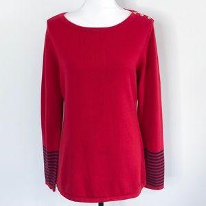 Nautica Tunic Sweater Button Neck Striped Red Sz L